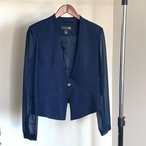 Navy Blazer - Sheer Sleeves